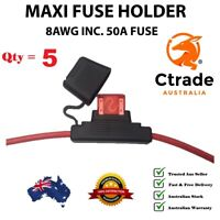 x5 50amp Maxi Fuse with Weatherproof Holder 8AWG (8 B&S) wire Dual Battery 50A