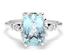 3.08 Carats Natural Aquamarine and Diamond 14K Solid White Gold Ring