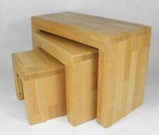 3er Set Hocker Buche Beistelltisch Sitzbank Dreisatz Tisch Tischset Blumenbank