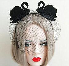 Crown Wedding Funeral Veil Bridal Punk Gothic Emo Queen Cosplay Headband Swan