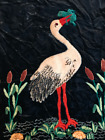 Vintage tapestry of bird heron with frog and lily pads