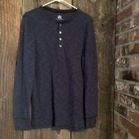 Rock & Republic Men's Long Sleeve Shirt Size Small Navy Henley Thermal