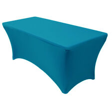 Stretch Spandex Fitted 6 Ft Rectangular Table Cover Malibu Blue
