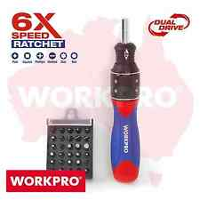 Workpro 32pc Double Drive Ratchet Screwdriver Bits Set 6x-speed Square Torx Hex