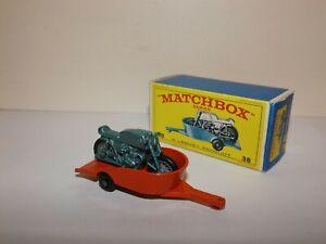 MATCHBOX REG.WHEEL NO.38-C HONDA MOTORCYCLE AND TRAILER ORANGE/BLUE-GREEN CYCLE
