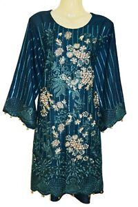 New Teal Designer Dress Kurta Kurti Kameez Top Churidaar Suit Bollywood Pakistan
