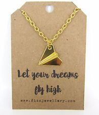 Let Your Dreams Fly High Paper Plane Aeroplane Gold Message Card Necklace Gift