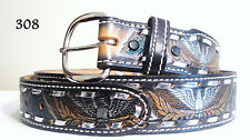 New Tooled and Laced Genuine Cowhide Leather Western Belt w/ Eagle $74 Size 36