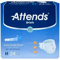 Attends Youth Brief, Extra Small / Youth, Heavy Absorbency, BRBX10 - Pack of 24