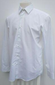 """Men's Hugo Boss Enzo White Spring Dress Formal Regular Fit Shirt Size 17.5"""" XL"""