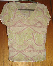 j jill Sheer Short Sleeve Knit Top, size M