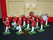 Britains 7305 Navy US Marine Corps DRUM Bugle TEAM METAL Toy Soldier Figure Set