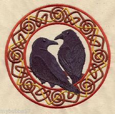 RAVENS Hugin and Munin  SET OF 2 HAND TOWELS EMBROIDERED RARE FIND by laura