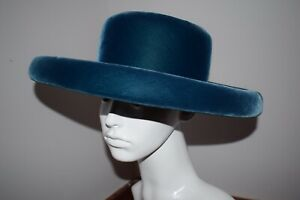Beautiful Vintage Harrods Blue Velvet Hat