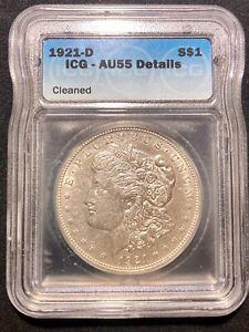 1921 D Morgan Silver Dollar ICG AU55