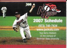 2007 New Jersey Jackals Baseball Pocket Schedule (Can-Am League)