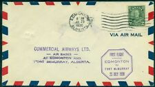 CANADA, CL49, 1930 (10¢) COMMERCIAL AIRWAYS LTD TIED ON FFC TO FT. MCMURRAY, VF