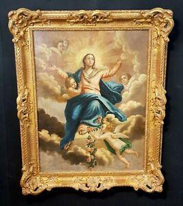 Maria im Himmelreich Putten Engel Antikes Ölgemälde wohl um 1750 Klosterarbeit