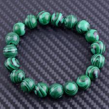 10 mm Redondo Natural Malaquita Piedras Preciosas Perlas Pulsera Accesorio Verde Hecho a Mano