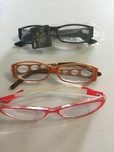 Calabria 808 Stainless Steel Designer Reading Glasses Orange 3.25 Red/Transp Bl