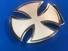 Silver tone Iron Cross Figural cut out belt buckle