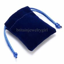 "Wholesale 10/50/100pcs Lot 3""X6"" Blue Velvet Jewelry Gift Bag Drawstring Pouches"