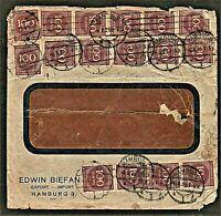 Germany 1923 Vintage 100 Mark 45 Stamps Postally Used Hamburg to India Kasargod