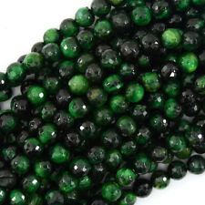 "Faceted Green Tiger Eye Round Beads Gemstone 15"" Strand 4mm 6mm 8mm 10mm 12mm"