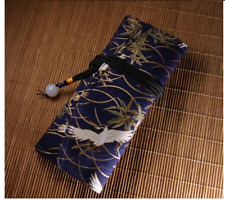 Handmade blue crane fountain pen case pouch multifunctional  bag for 3 pens