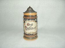 Kleiner Bierhumpen - Steinzeugkrug - Andenkenkrug mit Zinndeckel  um 1900