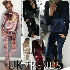 UK Womens 2 Piece Crushed Velvet Tracksuits Jumpsuit Ladies Long Sleeve Size6-14