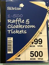 SILVINE 1 - 500 Cloakroom Raffle Tickets - Pink Green Blue Yellow Or White