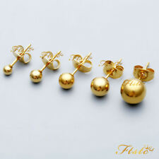 SMALL GOLD PLATED STERLING SILVER BALL STUD EARRINGS 1/1.5 /2/3 or 4mm - PAIR