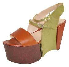 Fendi Sz 39 Rare Brown Green Super Platform Leather and Grosgrain