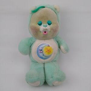 "Vintage 80s Care Bears Baby Bedtime Bear Cub Flocked Face Stuffed Animal 11"""
