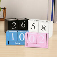 Wooden Perpetual Calendar Manual Wood Block Desk Office Decor Photograph