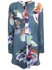 NEW Next Blue Floral Print Long Sleeve Top Blouse 12 14 16 18 20