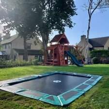 Capital Play HEAVY DUTY 10ft x 6ft In-ground Trampoline Kit - Grey Kids Safe