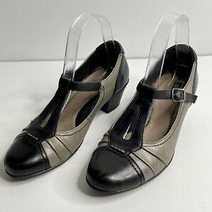 Earth Size 7 B Grey Black Leather Buckle Closed Toe Mary Jane Pump Block Heel
