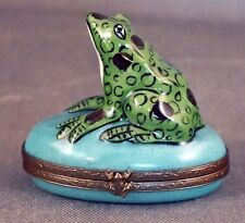 "Limoges France Frog Trinket Box 2-3/16"" Wide Hand Painted"