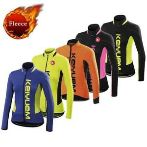 Women's Long Sleeve Thermal Cycling Jersey Ladies Winter Fleece Bike Cycle Shirt