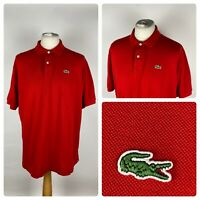 LACOSTE Mens Red Casual Polo Shirt Top Short Sleeved / 7 UK XXL / Cotton VTG