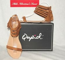 QUPID  NEW  Flat Sandals Archer 166 Camel Suede Look Gladiator Tassel Style