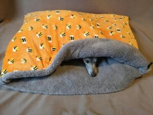 Orange/Green Bumble Bee Cuddle Fleece Snuggle Wrap Cave Dog Beds