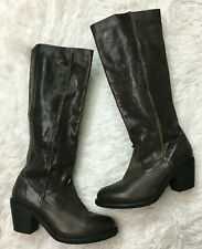 Frye Boots 7.5 Knee High Brown Leather Womens Boot Stacked Heel