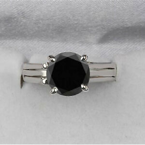 925 Sterling Silver & Round Cut 4.80Ct Natural Jet Black Diamond Solitaire Ring