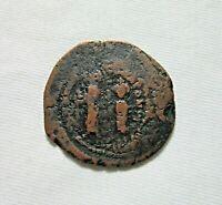 BRONZE  FOLLIS. HERACLIUS AND HERACLIUS CONSTANTINE, 610-641 AD. LARGE FLAN.