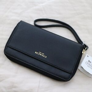 NWT Coach Saffiano Black Leather Travel Universal Wristlet Coin Pouch Case NEW