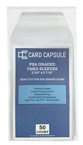 PSA Graded Card Sleeves 50 Count Exact Fit for PSA Slabs Resealable Sleeves Bags