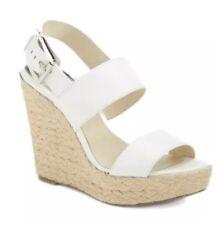 Michael Kors Posey Espadrille Wedge Leather Sandal Optic White Women Sz 10M 1013
